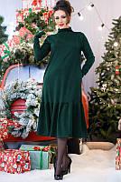 Теплое трикотажное платье изумрудное