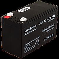 Аккумулятор кислотный AGM LogicPower LPM 12 - 7,5 AH, фото 1