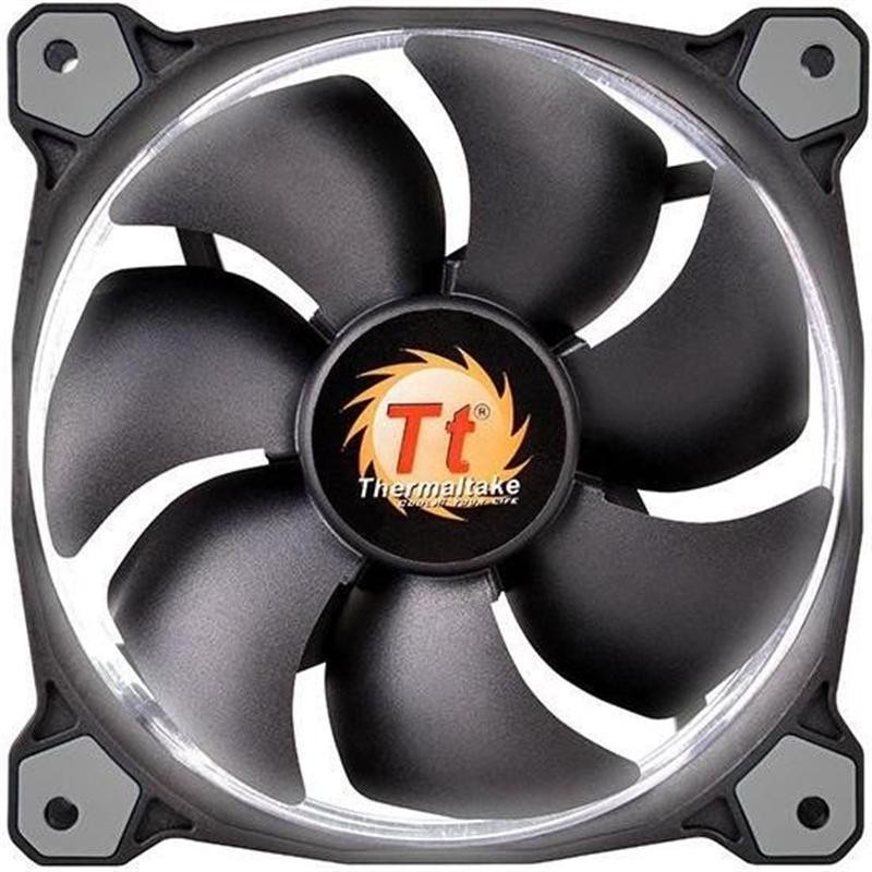 Вентилятор Thermaltake Riing 12 LED White (CL-F038-PL12WT-A), 120х120х25 мм, 3pin, черный