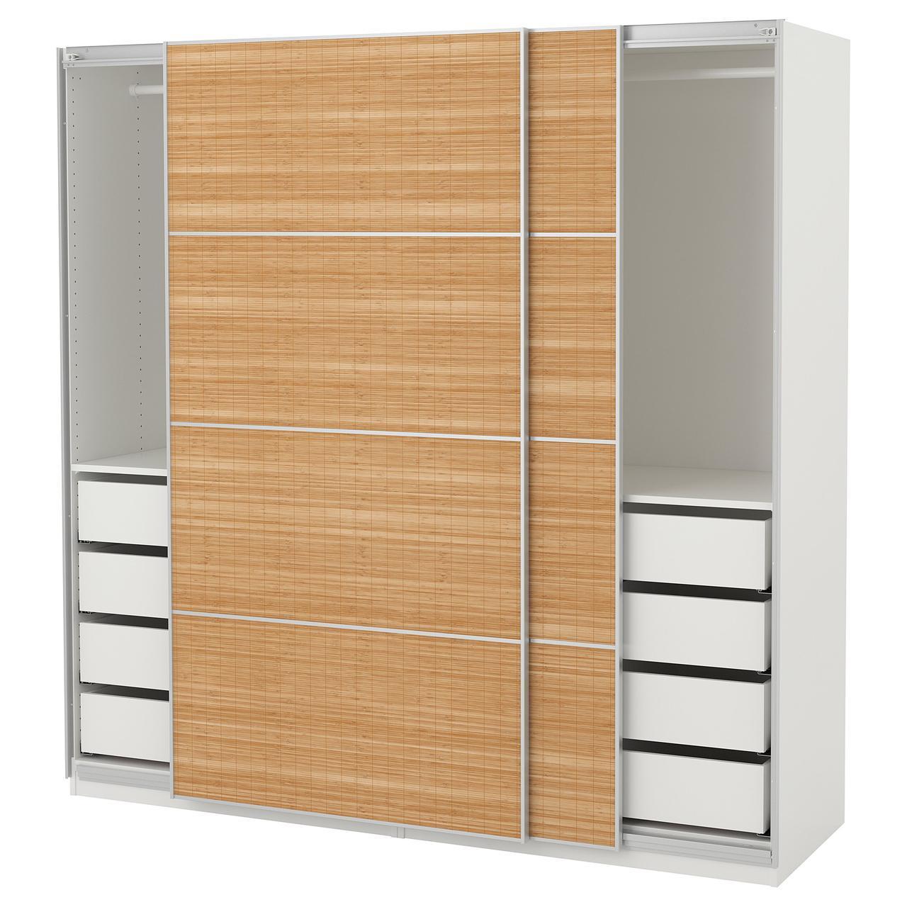 шкаф купе Ikea Pax Fjellhamar бамбук коричневый 29243932 цена 33