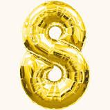 Шар фольгированный Цифра от 0 до 9 Золотистая, фото 8