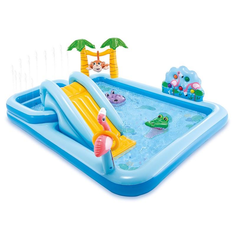 Детский надувной игровой центр - бассейн Джунгли с горкой, 57161