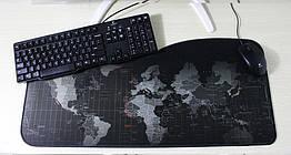 """Игровая поверхность """"Карта черная"""".Большой коврик72*33 см для мышки"""