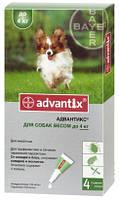 Адвантикс для собак до 4 кг, 4 пипетки (капли на холку от блох и клещей)