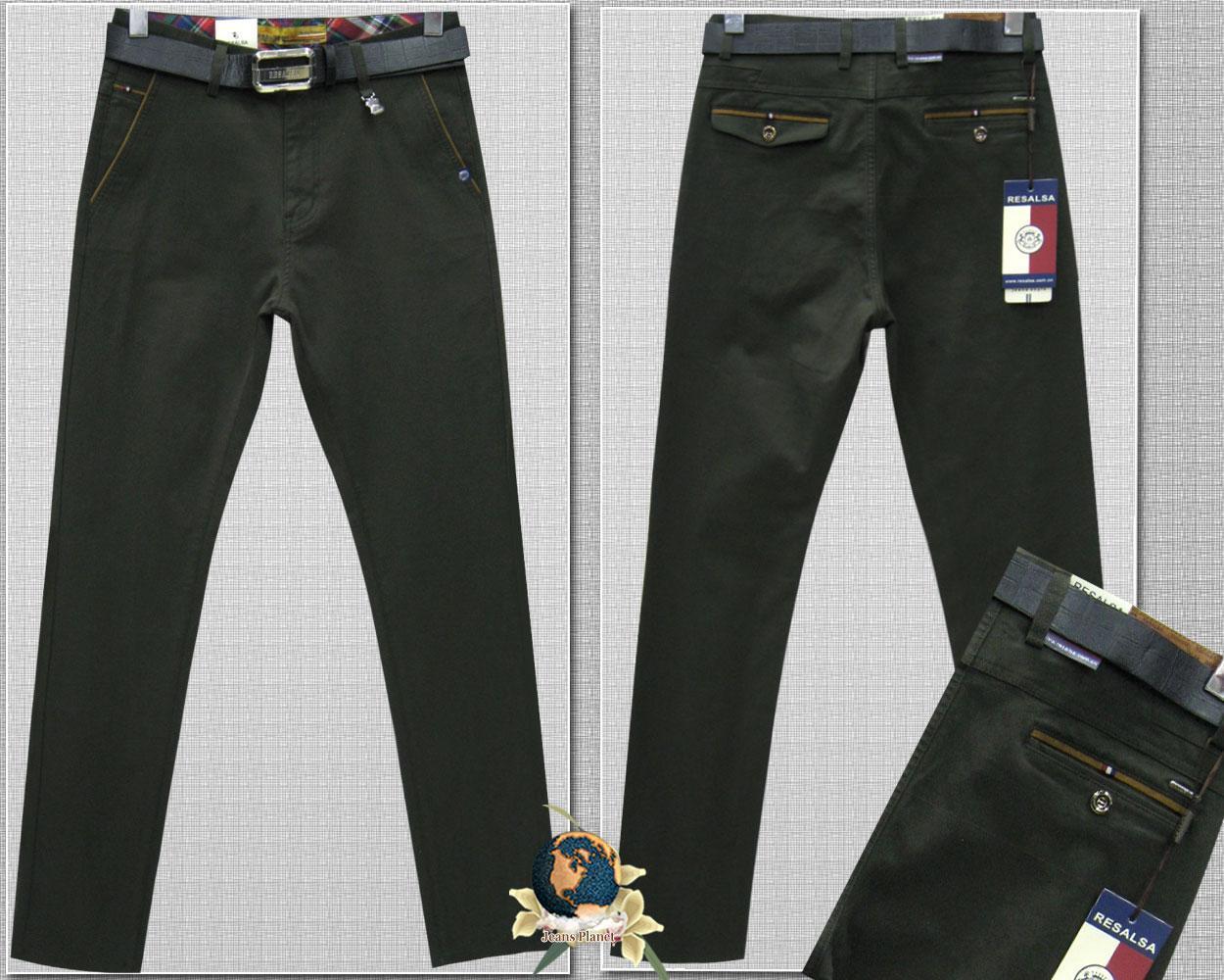Джинси-брюки завужені красивого кольору темний хакі з ременем