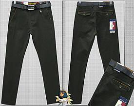 Джинсы-брюки зауженные красивого цвета тёмный хаки с ремнём