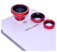 Объектив Fisheye 3 в 1 для телефона на магните Красный Розничная коробка