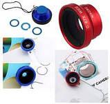 Универсальный объектив Fisheye 3 в 1 для телефона на магните Синий Розничная коробка, фото 4