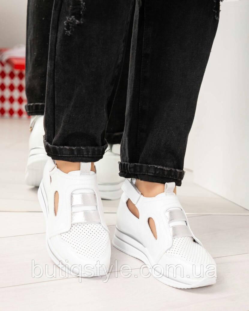 Кроссовки белые женские с перфорацией натуральная кожа на липучках  2019
