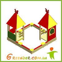 Деревянный детский комплекс Песочница с игровыми домиками