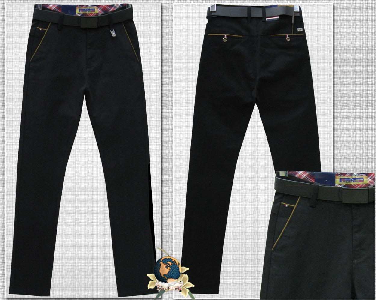 Чоловічі чорні штани під джинси з ременем Resalsa