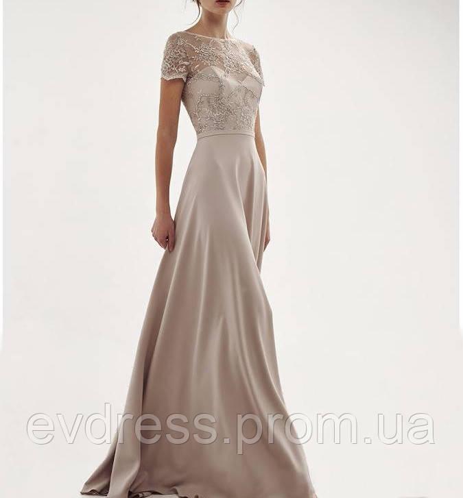cacdffb59a24cf8 Бежевое длинное вечернее платье с короткими рукавами на выпускной, свадьбу  DL-60338 - Интернет