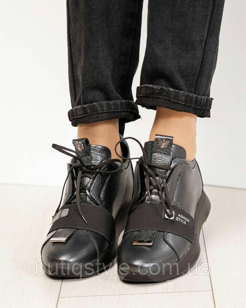 Женские кроссовки черный+серый Fashion натуральная лаковая кожа, 2019