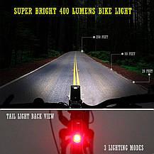 Светодиодные велосипедные фонари Cycloving передний и задний водостойкие, фото 3