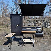 Коптильня горячего и холодного копчения БОМБА с квадратной камерой