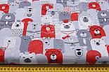 """Лоскут ткани """"Мишки в коронах в кино"""" серо-красные № 1454, размер 33*80 см, фото 2"""