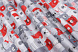 """Лоскут ткани """"Мишки в коронах в кино"""" серо-красные № 1454, размер 33*80 см, фото 3"""