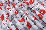 """Отрез ткани """"Мишки в коронах в кино"""" серо-красные № 1454, размер 85*160, фото 3"""