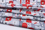 """Лоскут ткани """"Мишки в коронах в кино"""" серо-красные № 1454, размер 33*80 см, фото 4"""