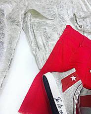 Кеды женские Je te veux серебристо-красные, фото 3