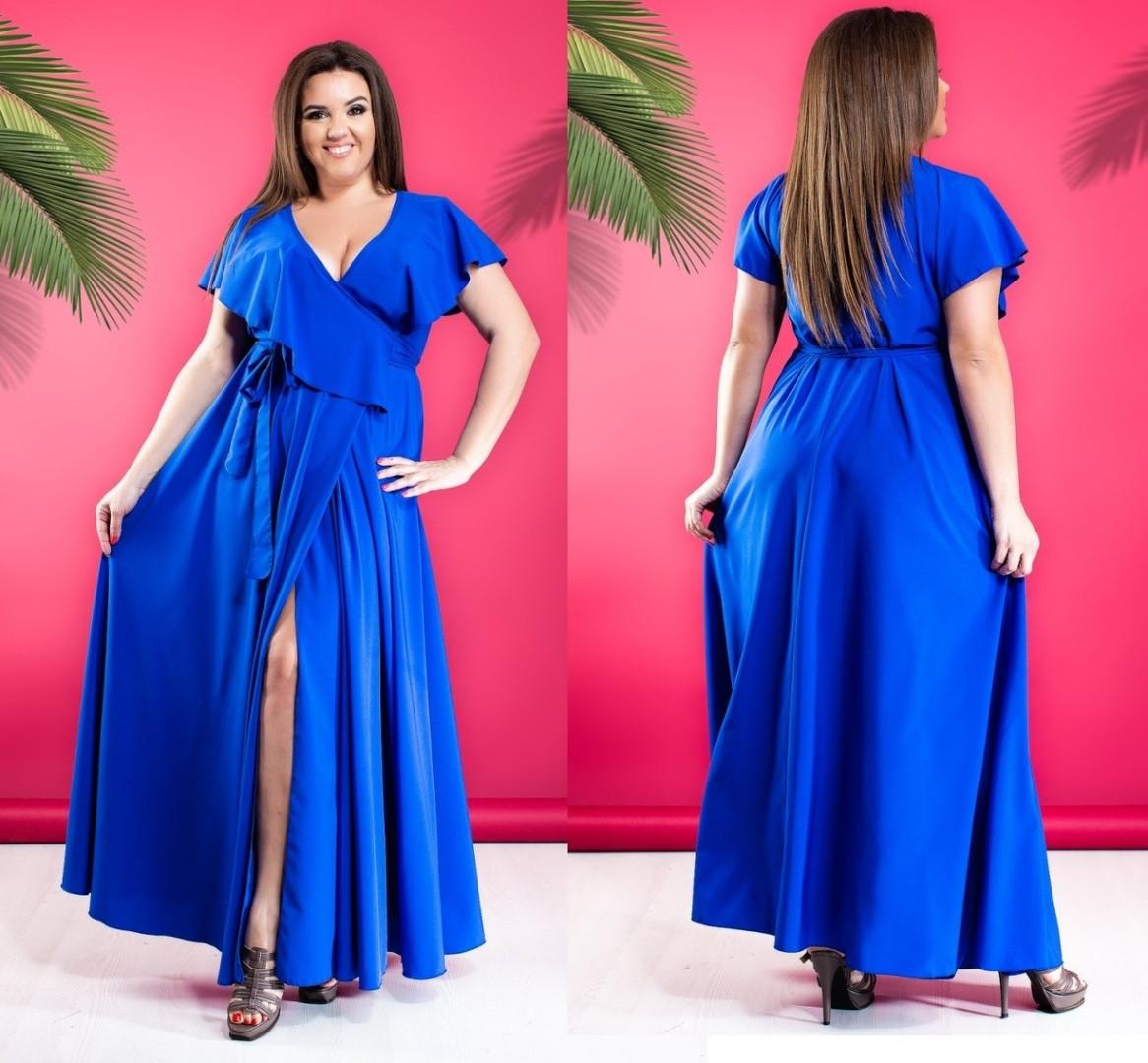 73b37c166501a00 Шикарное женское платье длинное в пол большого размера на запах синее -