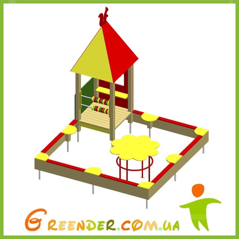 Игровой комплекс песочница с игровым домиком и столиком «Ромашка»