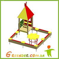 Игровой комплекс песочница с игровым домиком и столиком «Ромашка», фото 1