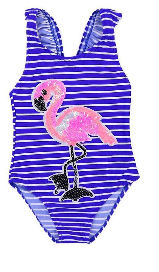 Сдельный детский купальник для девочки от 4 до 12 лет Синий