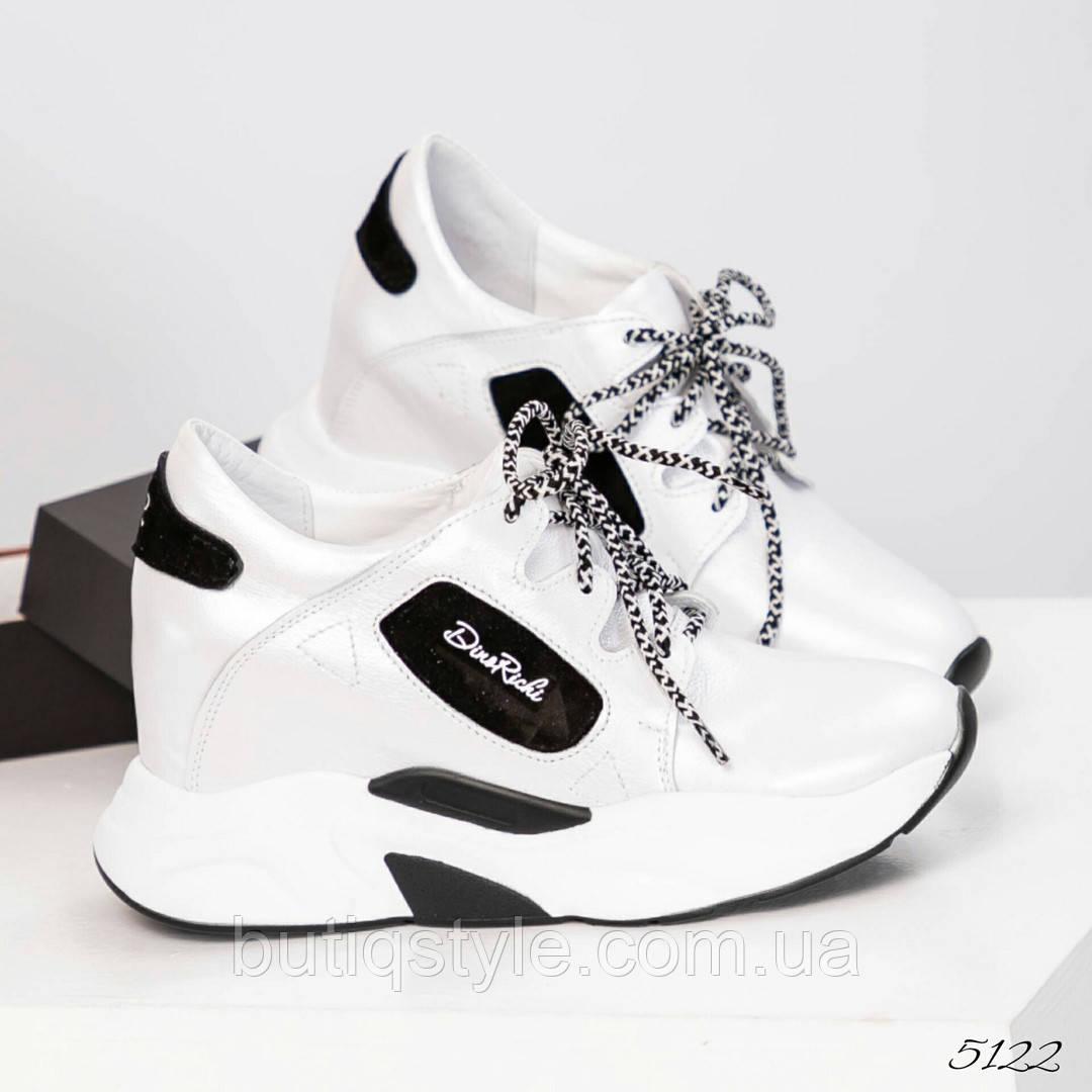40 размер! Кроссовки на скрытой платформе белый перламутр натуральная кожа 2019