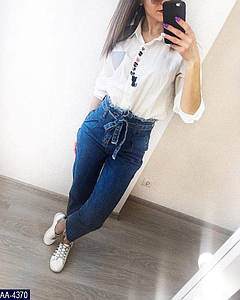 Джинсы женские с поясом (высокая посадка). Фабричный Китай. Ткань джинс, размеры 42, 44, 46