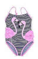 Сдельный детский купальник для девочки от 2 до 6 лет Темно-синий + розовый