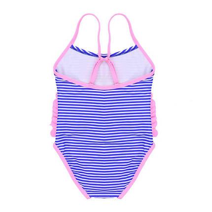 Сдельный детский купальник для девочки от 2 до 6 лет Синий + розовый, фото 2