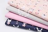 "Лоскут ткани ""Кролики на качелях"" на синем фоне, №1521а, размер 24*160 см, фото 2"