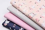 "Лоскут ткани ""Кролики на качелях"" на синем фоне, №1521а, размер 24*160 см, фото 4"