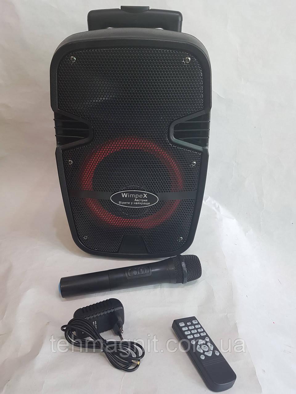 Акумуляторна автономна колонка c радіомікрофоном Wimpex WX 8082 Bluetooth, SD+USB, пульт