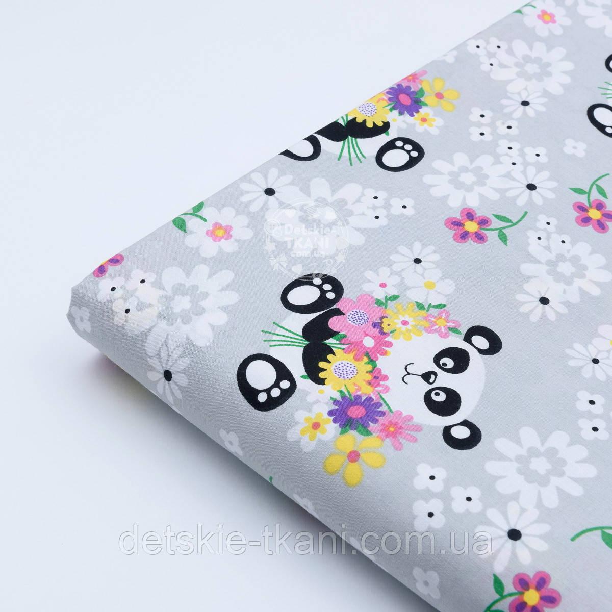 "Лоскут ткани ""Панда с букетом"" на сером №1817а"