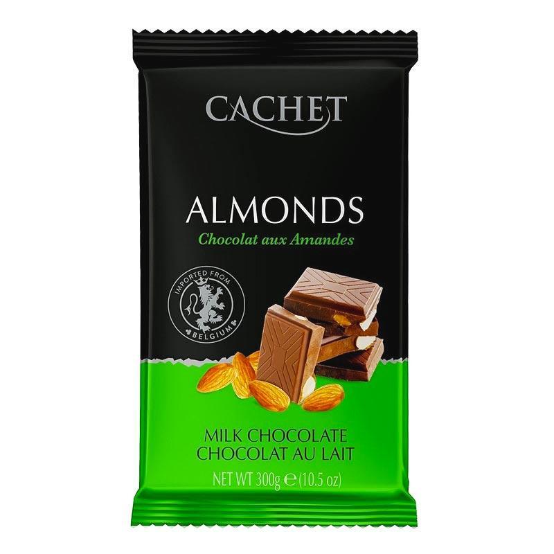 Шоколад молочный CACHET (КАШЕТ) 32 % какао с миндалем 300 г Бельгия
