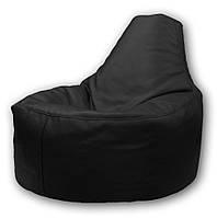 Черное бескаркасное кресло-мешок Кайф из кож зама Зевс