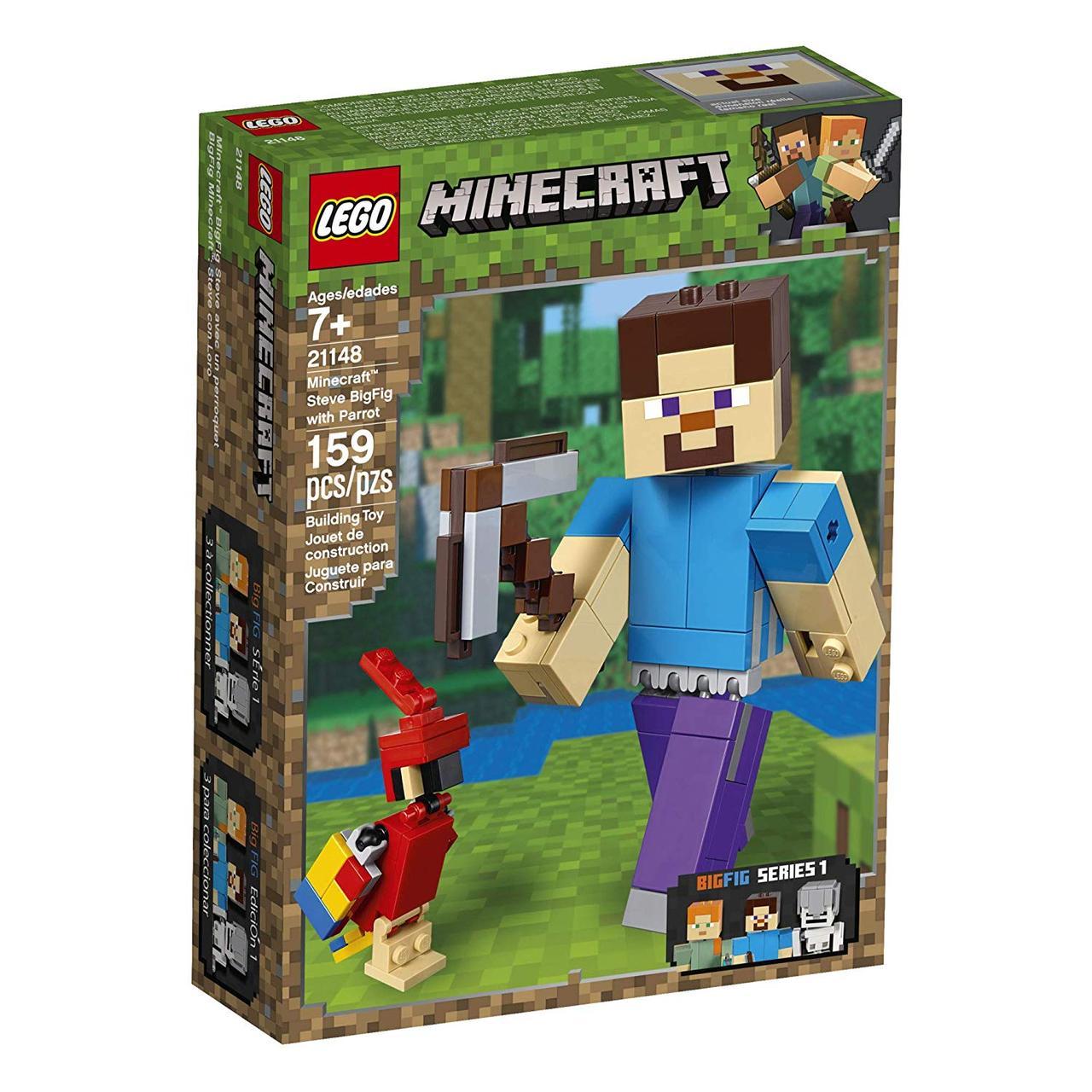 Конструктор LEGO MINECRAFT 21148 Великі фігурки Minecraft, Стів з папугою