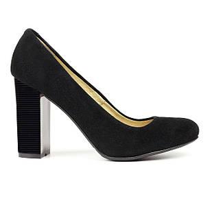 Замшевые туфли женские 37 размер на высоком каблуке Woman's heel черные с закругленным носом