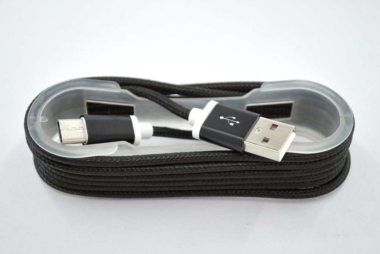 Usb-cable Type-C 4you DL-004 (Тканев. оплетка, коробка, Premium, 1м, черный)