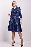 Синее платье в клетку юбка полусонце для женщин