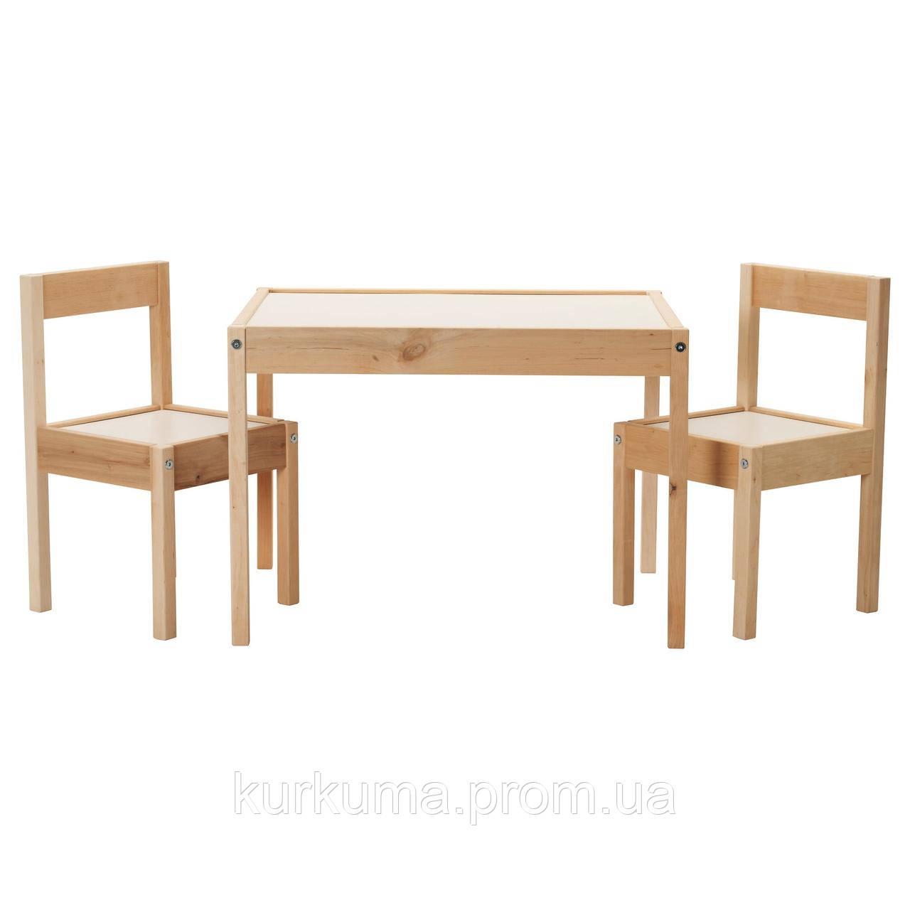 IKEA LATT Детский стол и 2 стула, белый, сосна  (501.784.11)
