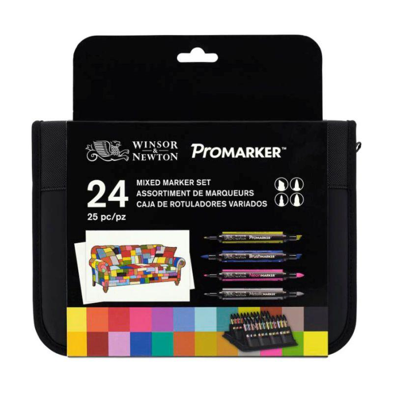 Набор двусторонних маркеров, Микс (Brushmarker, Promarker, Neon, Metalik) 24 шт, W&N