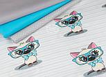 """Лоскут ткани """"Котёнок в голубых очках"""" на светло-мятной полоске, № 1428а, фото 2"""