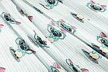 """Лоскут ткани """"Котёнок в голубых очках"""" на светло-мятной полоске, № 1428а, фото 3"""