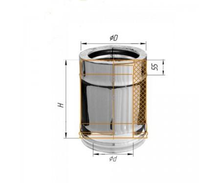 Двустенная дымоходная сендвич труба с утеплением оц/нерж 0,8мм L=0,3м диам.