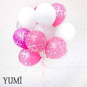 Связка из воздушных шариков с рисунком на выписку из роддома, фото 2