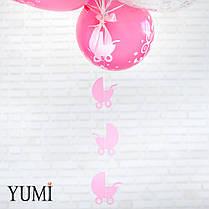Связка из воздушных шариков с рисунком на выписку из роддома, фото 3