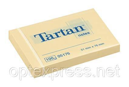 3М Post-It  желтые  клейкие стикеры Tartan 51х76 мм блок 1000л